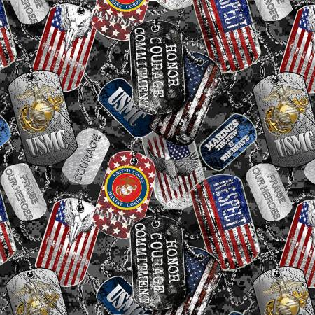 Military U. S. Marines Dog Tags Fabric by the Yard, 1/4, 1/2 and Continuous yard(s)