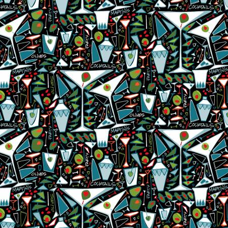 Martini Time, Party Fabric by the Yard or Half Yard, Cocktails, Black