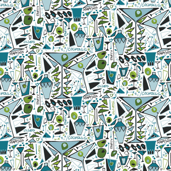 Martini Party Fabric by the Yard or Half Yard, Cocktails, White