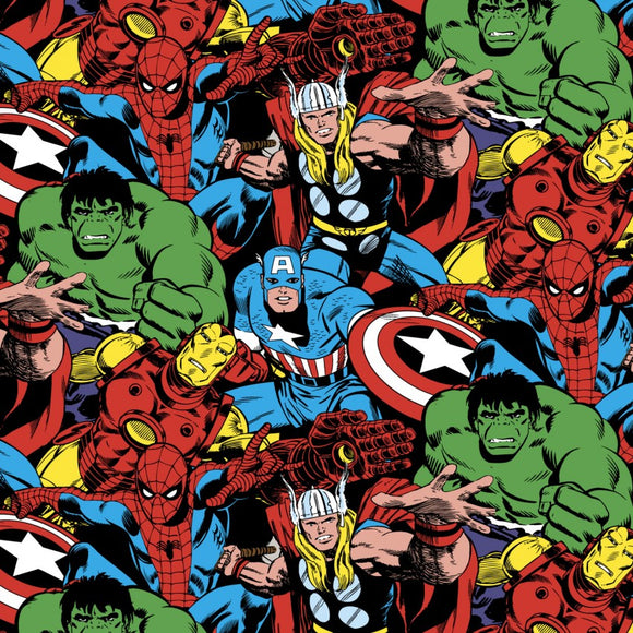 Avengers, Marvel Comic Pack Fabric by the Yard or Half Yard, Hulk, Captain America