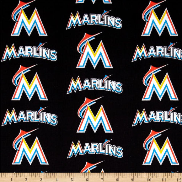 Miami Marlins Fabric by the Yard or Half Yard, MLB, Cotton Fabric