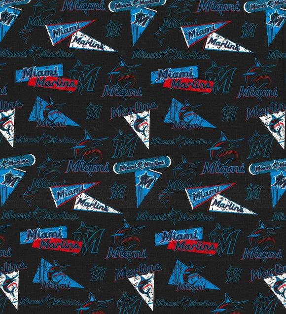 Miami Marlins Fabric by the Yard or Half Yard, MLB, Cotton Fabric, Vintage