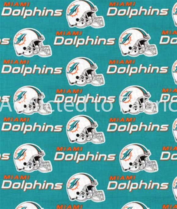 Miami Dolphins Fabric by the Yard or Half Yard, NFL Cotton Fabric