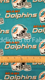 Miami Dolphins Fabric by the 1/4 or 1/2 Yard, NFL Cotton Fabric