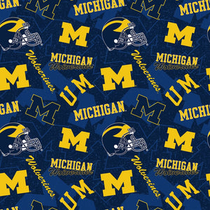 University of Michigan Wolverines Fabric by the Yard, Half Yard, NCAA, College