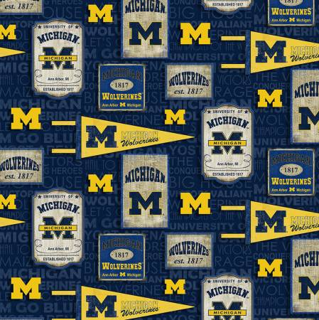 Michigan Wolverines Fabric by the Yard or by Half Yard, Vintage Pennants