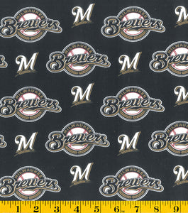 Milwaukee Brewers Fabric by the Yard, Half Yard, MLB Cotton Fabric