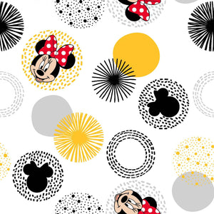 Minnie Mouse Modern Disney, Quilt Fabric by the Yard, by the Half Yard, White