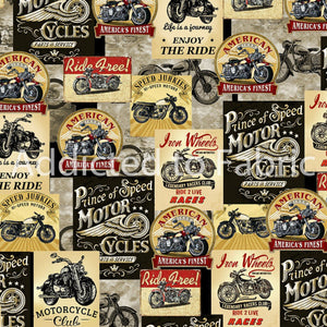 Motorcycle Posters Fabric by the Yard or Half Yard, Motorcycles