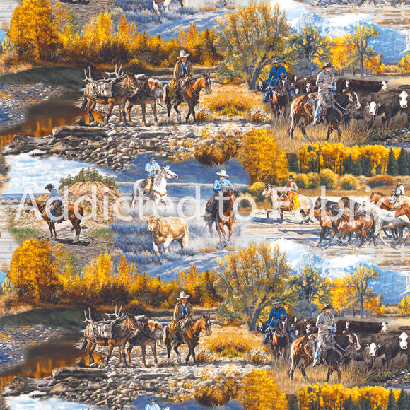 Cattle Drive Fabric by the Yard and Half Yard, Mountain Pass, Horses, Western