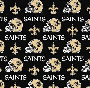 New Orleans Saints Fabric by the 1/2 or Continuous Yard(s), Licensed NFL Fabric