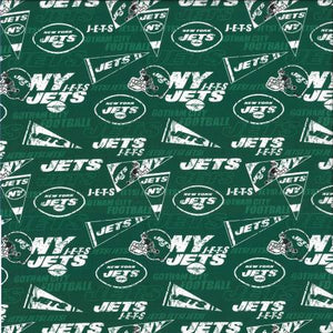 New York Jets Fabric by the 1/4, 1/2 or Continuous Yard(s), NFL Cotton Fabric, Retro