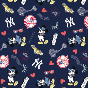 New York Yankees Disney Mickey Mouse Fabric by the Yard or Half Yard, MLB