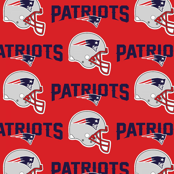 New England Patriots Fabric by the Yard or Half Yard, NFL Cotton Fabric, NFL Fabric, Red