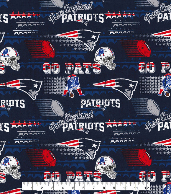 New England Patriots Fabric by the Yard, by the Half Yard, NFL Cotton Fabric, Retro