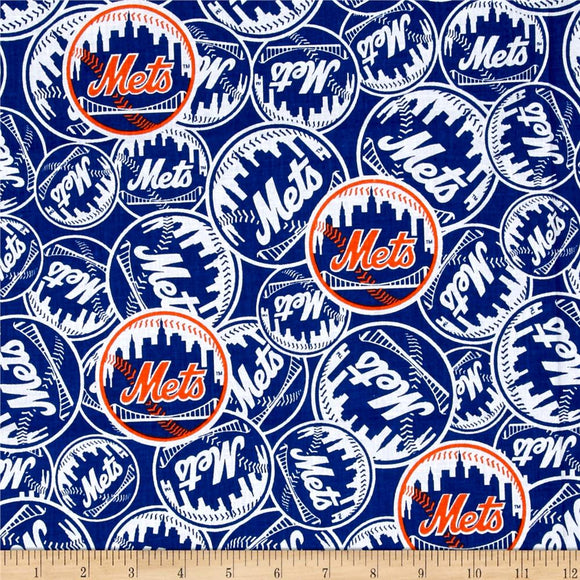 New York Mets Fabric by the Yard or Half Yard, MLB Licensed Fabric, Cotton