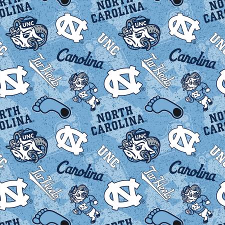 University of North Carolina Tar Heels Fabric by the Yard and Half Yard, UNC