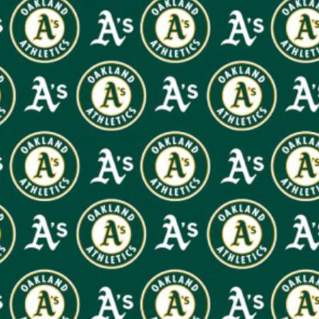 Oakland A's Fabric by the Yard or Half Yard, MLB, Cotton Fabric