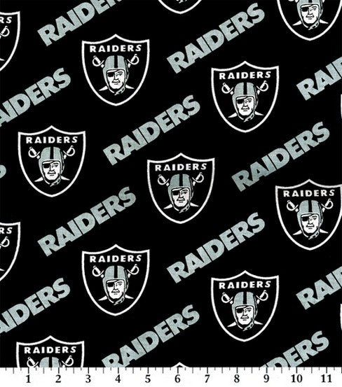 Las Vegas Raiders Fabric by the Yard and 1/2 Yard, NFL Cotton Fabric