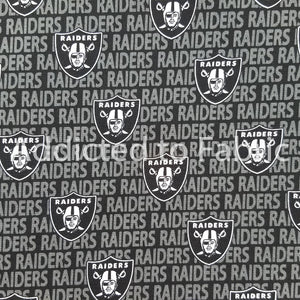 Las Vegas Raiders Fabric by 1/4, 1/2 or Continuous Yard(s), NFL Cotton, Mini Print
