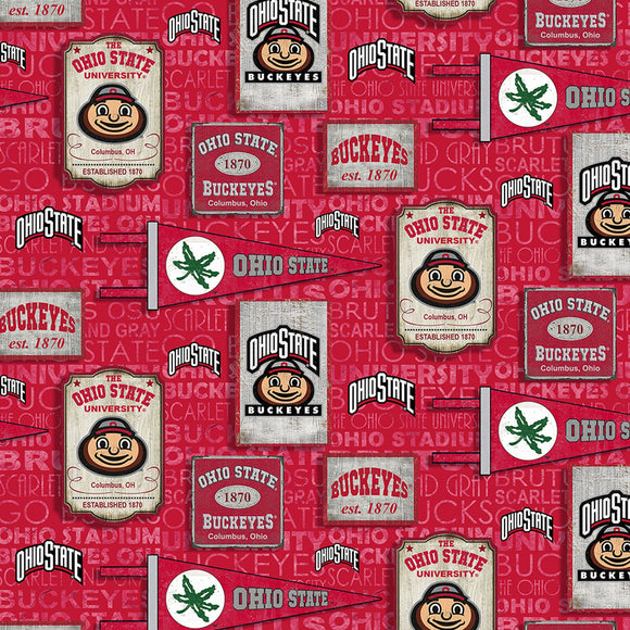 Ohio State Buckeyes Fabric by the Yard or by Half Yard, Vintage Pennant
