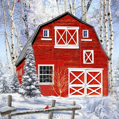 Red Winter Barn Panel 24
