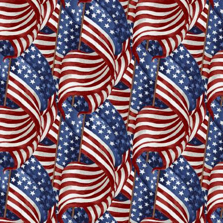 Live Free Patriotic Fabric by the Yard and Half Yard, American Flags