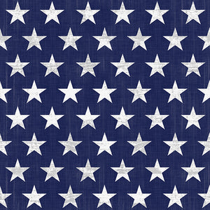 "Live Free Patriotic Fabric by the Yard and Half Yard, 1"" Stars on Blue"