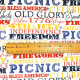 White American Spirit Words, American Spirit, Fabric by the Yard or Half Yard, Patriotic Fabric