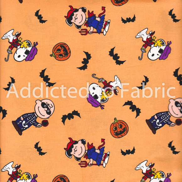Peanuts Halloween Fabric by the Yard or Half Yard, Cotton, Snoopy