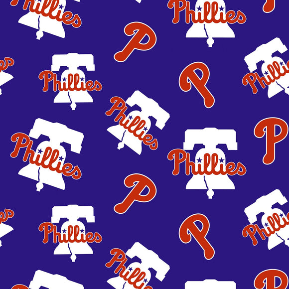 Philadelphia Phillies Fabric by the Yard or Half Yard, MLB Fabric, Cotton