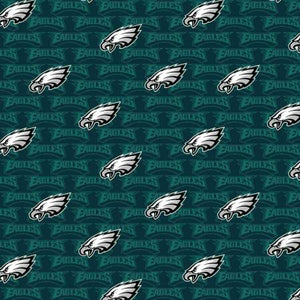 Philadelphia Eagles Fabric by the Yard or Half Yard, Licensed NFL Cotton, Small Print