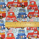 Blue American Trucks, American Spirit, Fabric by the Yard or Half Yard, Patriotic Pickup Trucks