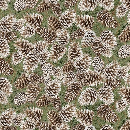 Timeless Treasures Pinecones Fabric by the Yard or Half Yard, White Holiday Fabric