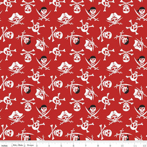 Pirate Tales Fabric by the Yard or Half Yard, Riley Blake Designs, Skulls on Red