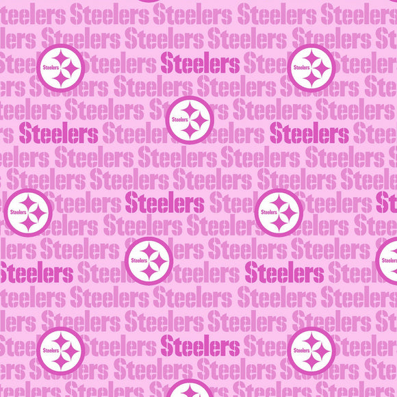 Pittsburgh Steelers Pink Fabric by the Yard or Half Yard, NFL Cotton Fabric