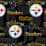 Pittsburgh Steelers Fabric by the Yard, by the Half Yard, NFL Cotton Fabric, Retro