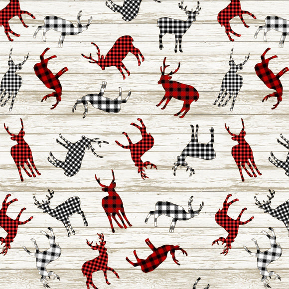 Plaid Reindeer Fabric by the Yard or Half Yard, Timeless Treasures, Deer