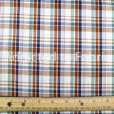 Blue and Brown Plaid Fabric by the Yard, by the Half Yard, Woven Cotton