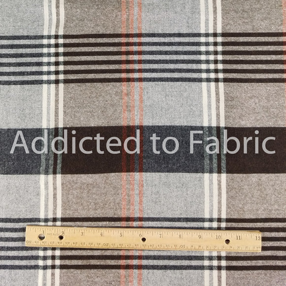 Brown Plaid Wool Blend Fabric by the Yard
