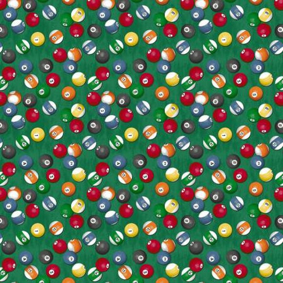 Pool Table Fabric by the Yard, Half Yard, Green, Man Cave Windham Fabrics