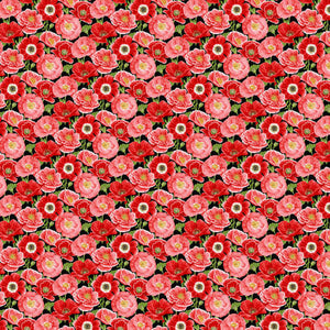 Small Poppies Fabric by the Yard or Half Yard, Henry Glass, Poppy Meadow
