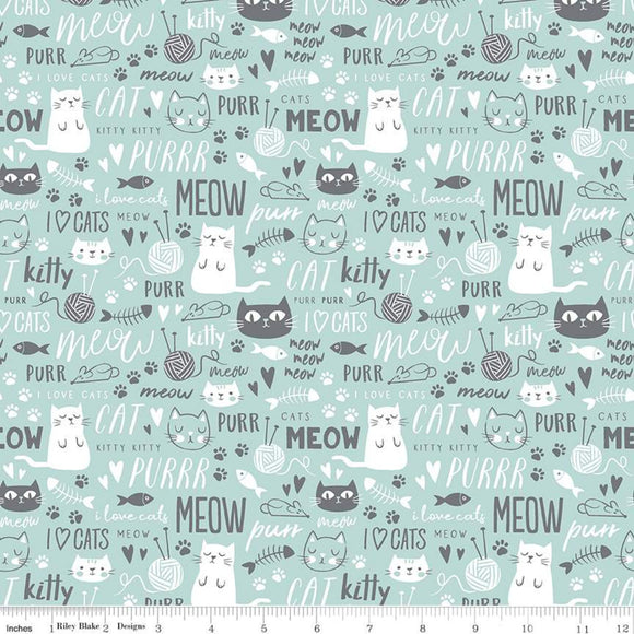 Purrfect Day, Cat Fabric by the Yard, Aqua, Kitty Cotton Fabric