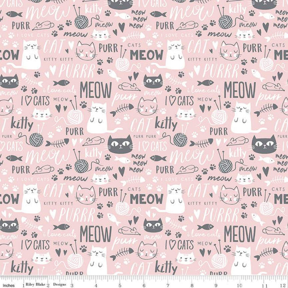 Purrfect Day, Cat Fabric by the Yard or Half Yard, Pink, Kitty