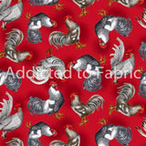 Roosters on Red Fabric by the Yard or Half Yard, Farm