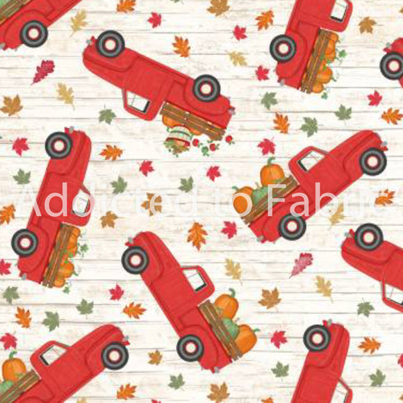 Pickup Trucks and Pumpkins, Thanksgiving Fabric by the Yard Timeless Treasures