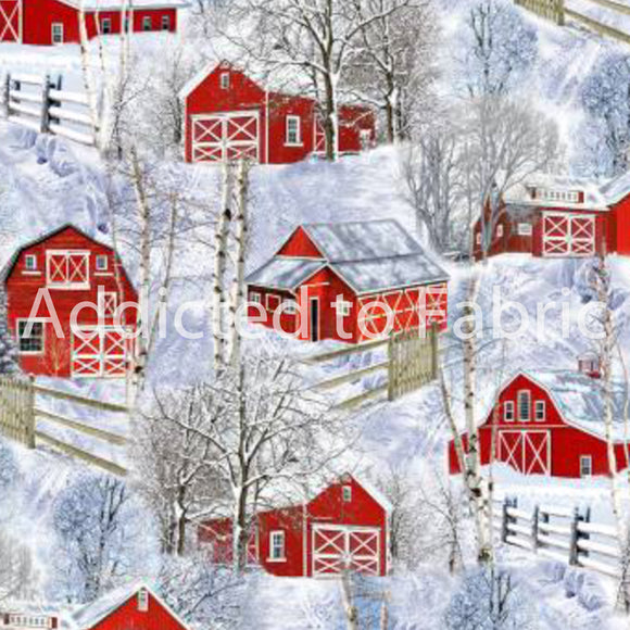 Red Winter Barns Fabric by the Yard and Half Yard, Timeless Treasures