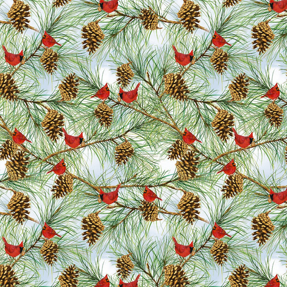 Cardinals on Pine Trees, Snow Days Fabric by the Yard and Half Yard, Henry Glass, Red Birds