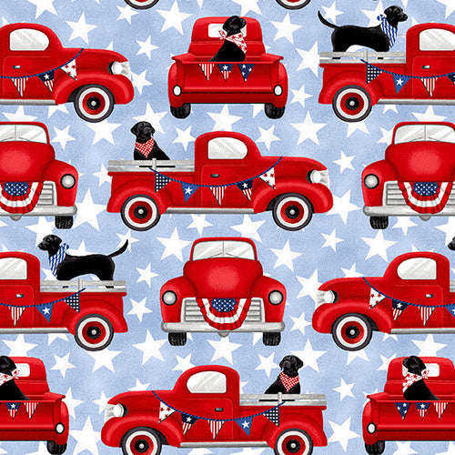 Truckin' in the USA, Patriotic Trucks with Dogs Fabric by the Yard or Half Yard, Studio E