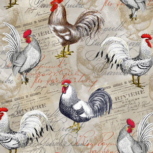 Roosters on Labels Fabric by the Yard or Half Yard, Farm